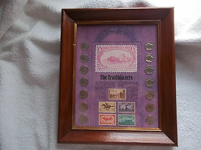 The Trailblazers Nickles Stamps Glass Wood Framed Collection 14 Nickles 5 Stamps