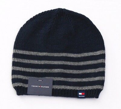 40b49af496bf1 Tommy Hilfiger Blue   Gray Stripe Knit Beanie Skull Cap Men s One Size NWT