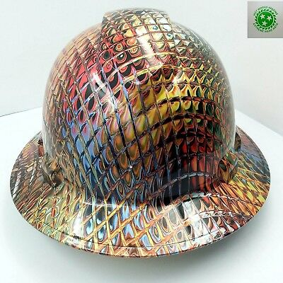 New Custom PYRAMEX(Full Brim) Hard Hat IRONMAN METALLIC SWIRL 3D CRAZY SICK NEW