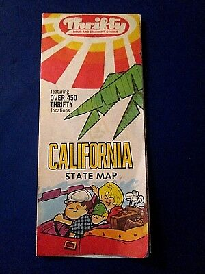 1960's THRIFTY DRUG STORE California State Map 450+ LOCATIONS~LOOK FOR RED T's!