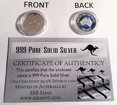 "1/10th Oz 99.9% Pure Silver Bullion Coin, ""Brown Snake"" (Aust Series) 14 to Col"