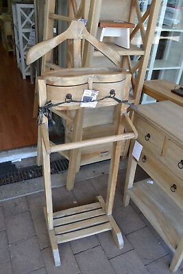 New Solid rustic Timber Mango wood Gentlemans Valet Clothing jacket stand