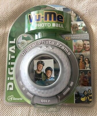 "Vu-Me Photo Ball Digital PHOTO FRAME 1.5"" Golf Ball Holds 70 Photos"