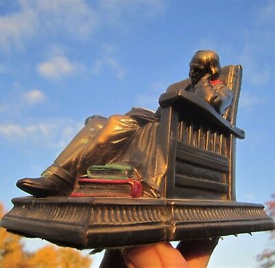 Antique K&o Bronzed Paint Bookend Paperweight Reading Man Sleeping Library Chair
