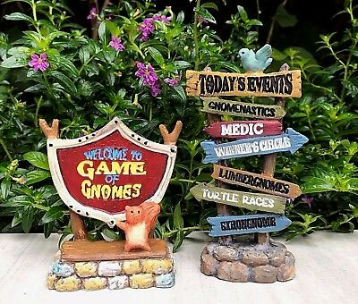 Miniature FAIRY GARDEN Gnome Figurine ~ GAME OF GNOMES Set of 2 Signs ~ NEW