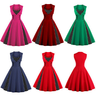 Women 50s 60s Swing Vintage Retro Housewife Pinup Rockabilly Party Flare Dress