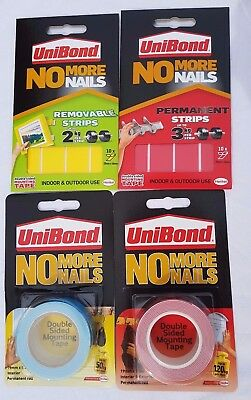 Unibond No More Nails Picture Hanging Double Sided Mounting Tape Strips Adhesive