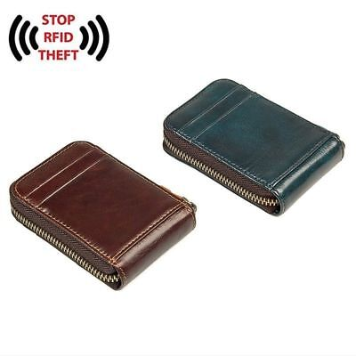 J.M.D Genuine Leather RFID Security Zipper Card Wallet Handmade Convenient Use