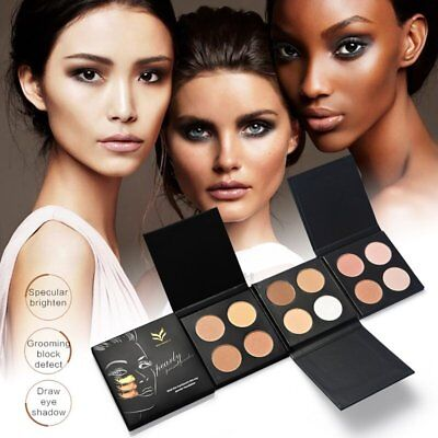 HUAMIANLI 4 Colors/Set Oil-Control Highlighter Face Pressed Powder Palette OZ