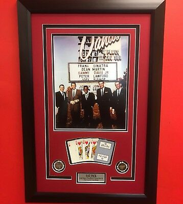 Framed The Rat Pack Sands Casino Hotel 11x14 Photo Cards Poker Chips Las Vegas