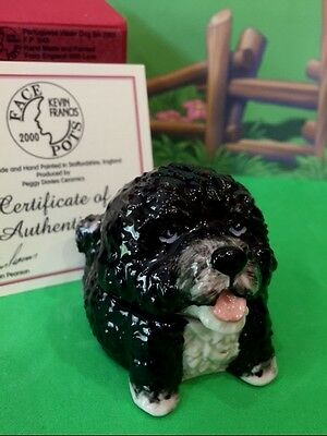 KEVIN FRANCIS Face Pots ELIAN THE PORTUGUESE WATER DOG Black 253 Made GOLD BKSMP