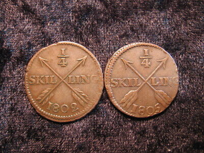 2 old world coin lot SWEDEN 1/4 quarter skilling 1802 1805 KM564 FREE SHIPPING