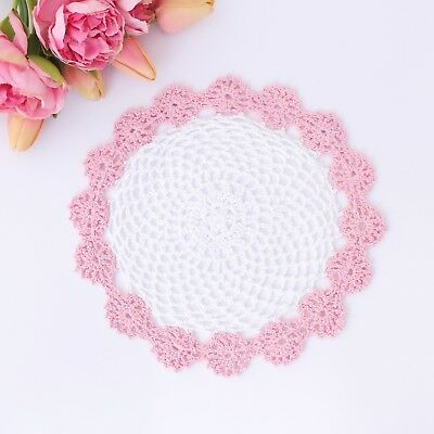 Crochet doily in white and pink 24 cm for millinery , hair and crafts