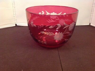 Vintage Ruby Red Cranberry Red Etched Glass Bowl