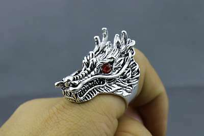 Old Miao Silver Hand-Carved China Anciend Myth Animal Dragon Exorcism Lucky Ring