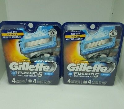 LOT OF 2  Gillette Fusion ProShield Chill Men Razor Blade Refills 8 Count TOTAL