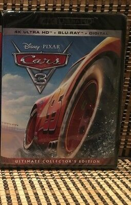 Cars 3 4K (3-Disc Blu-ray, 2017)Disney/Pixar-Lightening McQueen/Owen Wilson