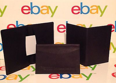 2 Pocket Business Card Holder Case Black Leather Wallet