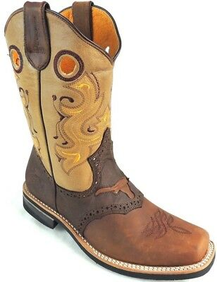 6d1be81253b Men s Rodeo Cowboy Boots Genuine Leather Western Square Toe Boots Brow  Bull. PISTOLERO (ピストレロ) is a Mexican well-established western boots brand  ...