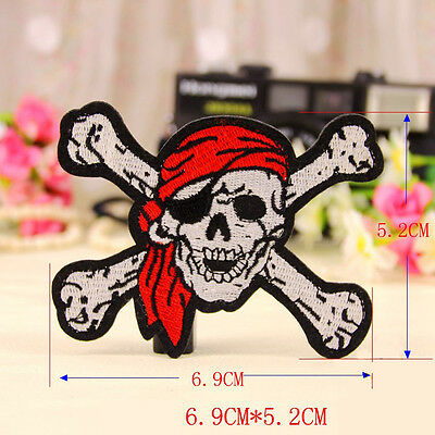 Embroidered Sew Iron On Patch Pirate Skull Crossbones Motif Applique Transfer