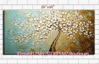 "YH406 20*40""Hand painted Oil Canvas Wall Art Home Decor peacock tree NO Frame"