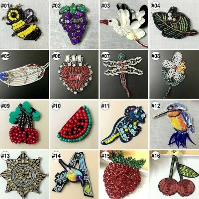 1PC Handmade Beads Crystal Sew on Patches Strass Rhinestones Applique Trim