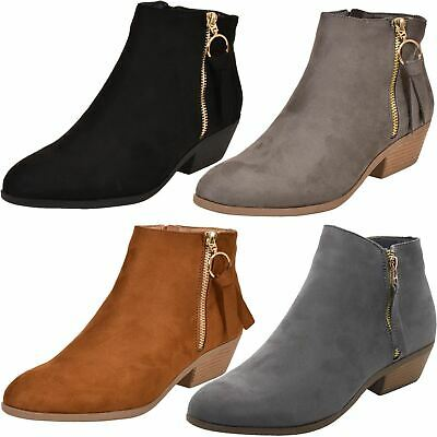 Ladies Chelsea Faux Suede Ankle Boots Womens Fashion Side Zip Low Mid Heel Shoes