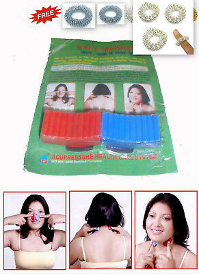 E.N.T Magnets Magnetic Therapy for Ear Nose Throat Set of 2 +Free 5 Sujok Rings