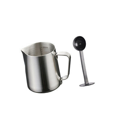 Milk Coffee Pitcher Latte Espresso Frothing Scale Jug 350ml and Scoop Tamper