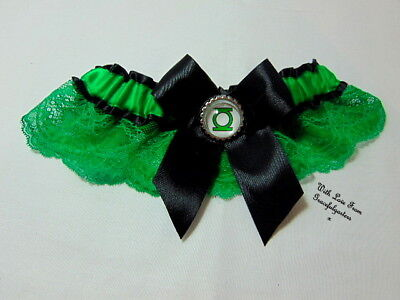 Green Lantern Lace Disney Bridal Wedding Garter.