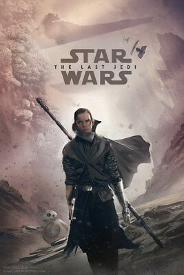 "055 Star Wars The Last Jedi - Daisy Ridley Action USA 2017 Movie 24""x35"" Poster"
