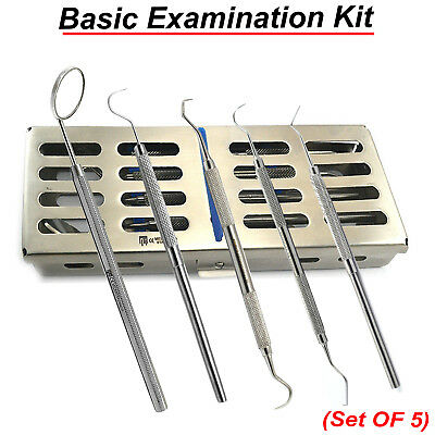 Dental Hygienist Examination Kit Dentist Mouth Mirror Explorer Scalers+Free Tray