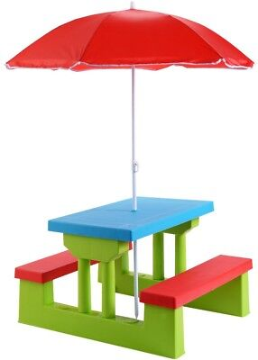 Kids Folding Picnic Table and Bench with Umbrella Outdoor Garden Yard 4 Seats