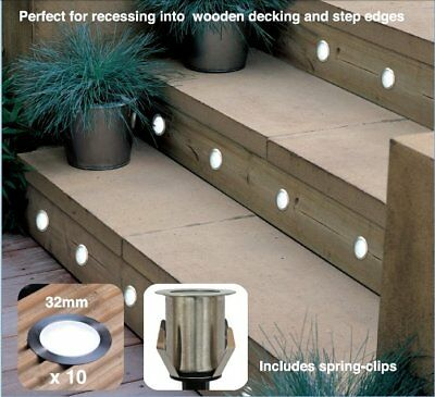 OUTDOOR Kit of 10 32mm White LED Deck/Plinth/Garden/Step/Recessed Light IP66