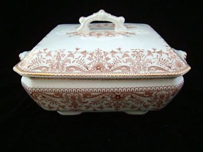 Brown Transfer Printed Square Tureen ~ TOURNAY 1885