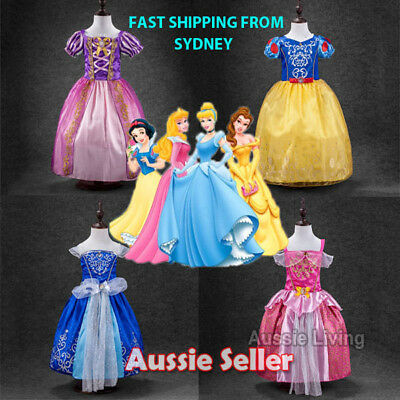 Kids Girls Princess Costume Fairytale Dress Up Rapunzel Cinderella Aurora Sofia