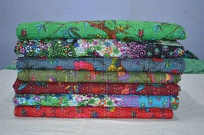 Vintage Kantha Quilt Reversible Throw Gudri Wholesale Handmade Indian Lot 7 pcs