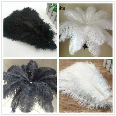 Wholesale 10-200pcs natural ostrich feathers 6-24 inches/15-60cm White / Black