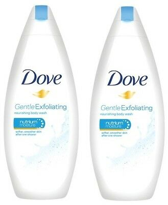 2x DOVE Body Wash  Gentle Exfoliating 250ml
