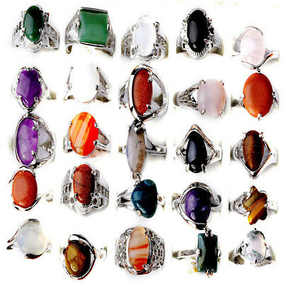 100/80Pcs Wholesale Jewelry Lots Natural Stone Silver Plated Rings Free Shipping