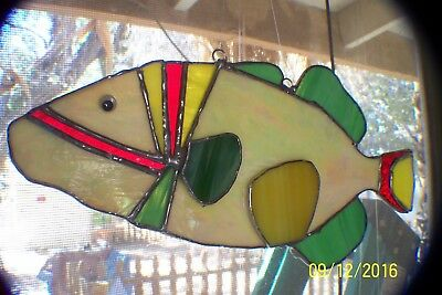 "Stained glass ""Yellowlined Triggerfish"" Suncatcher. Glass art. hand crafted."
