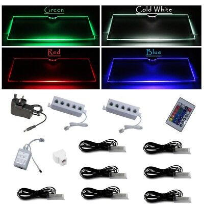 LED Kit RGB Glass Shelves Shelf Clip with Remote Color Light Blue Red Green