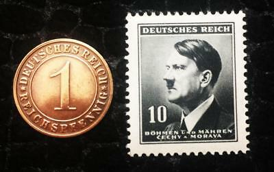 Authentic Nazi 3rd Reich HITLER Black Stamp WORLD WAR 2 and Antique German Coin