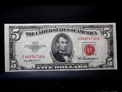 1953-A $5 United States Note ✪ Gem Uncirculated ✪ Consecutive L@@k C-A ◢Trusted◣