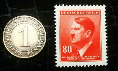 Authentic Nazi 3rd Reich HITLER Red Stamp WORLD WAR 2 and Antique German Coin