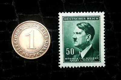 Authentic German WW2 Unused Stamp & Rare WW2 German 1 Reichspfennig