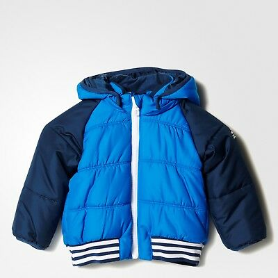 adidas baby boys blue padded hooded coat. Infant jacket. Age 0-4Y