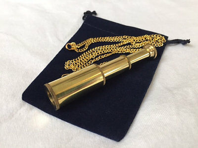 "Brass Pocket Telescope Necklace w/ 27"" Chain & Velour Bag -Mini Hand Held Pirate"