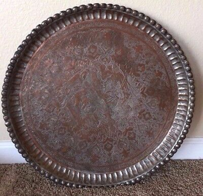 Antique Persian hand hammered copper tray pictorial with Persian calligraphy 19""