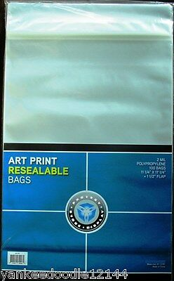 "(1) 100ct Package CSP Resealable Art Print 11.25x17.25"" Bag Photo Sleeves-New!"